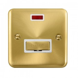 Click Deco Plus Satin Brass 13A Fused Ingot Connection Unit with Neon and White Insert