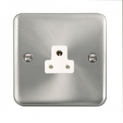 Click Deco Plus Satin Chrome 2A Round Pin Socket with White Insert