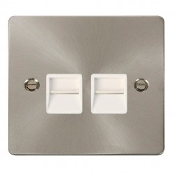 Click Define Brushed Steel Flat Plate Single Gang Double Telephone Socket with White Insert