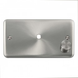 Click Deco Plus Satin Chrome 2 Gang Single Aperture Dimmer Plate with Matching Knob