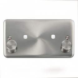 Click Deco Plus Satin Chrome 2 Gang Twin Aperture Dimmer Plate with Matching Knobs