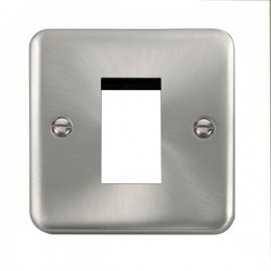 Click Deco Plus Satin Chrome 1 Gang Single Aperture Plate
