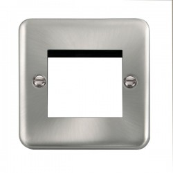 Click Deco Plus Satin Chrome 1 Gang Twin Aperture Plate
