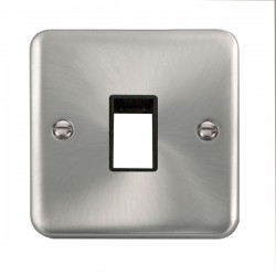 Click Deco Plus Satin Chrome 1 Gang Single Aperture Plate with Black Insert