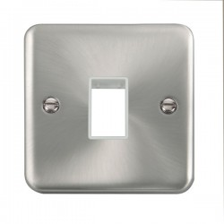 Click Deco Plus Satin Chrome 1 Gang Single Aperture Plate with White Insert