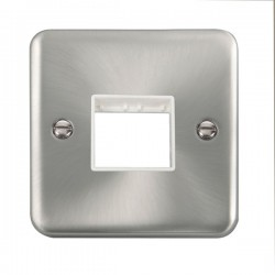Click Deco Plus Satin Chrome 1 Gang Twin Aperture Plate with White Insert