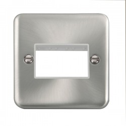 Click Deco Plus Satin Chrome 1 Gang Triple Aperture Plate with White Insert