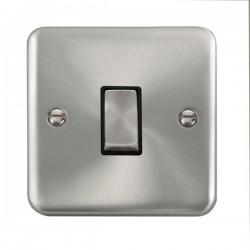 Click Deco Plus Satin Chrome 1 Gang 10AX 2 Way Ingot Switch with Black Insert