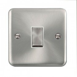 Click Deco Plus Satin Chrome 1 Gang 10AX 2 Way Ingot Switch with White Insert