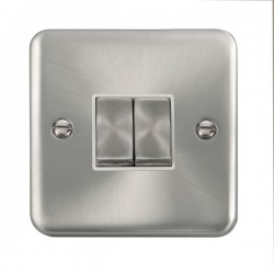 Click Deco Plus Satin Chrome 2 Gang 10AX 2 Way Ingot Switch with White Insert