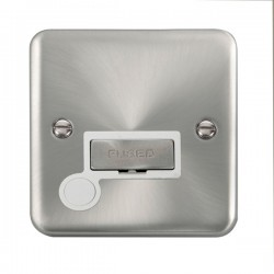 Click Deco Plus Satin Chrome 13A Fused Ingot Connection Unit with Flex Outlet and White Insert