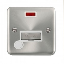 Click Deco Plus Satin Chrome 13A Fused Ingot Connection Unit with Flex Outlet, Neon, and White Insert