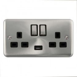 Click Deco Plus Satin Chrome 2 Gang 13A Ingot Switched Socket with USB Outlet and Black Insert
