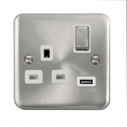 Click Deco Plus Satin Chrome 1 Gang 13A Ingot Switched Socket with USB Outlet and White Insert