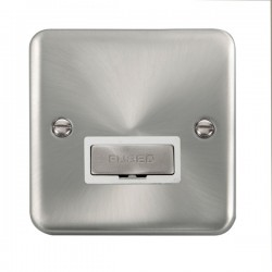 Click Deco Plus Satin Chrome 13A Fused Ingot Connection Unit with White Insert