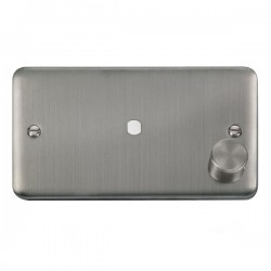 Click Deco Plus Stainless Steel 2 Gang Single Aperture Dimmer Plate with Matching Knob