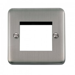 Click Deco Plus Stainless Steel 1 Gang Twin Aperture Plate