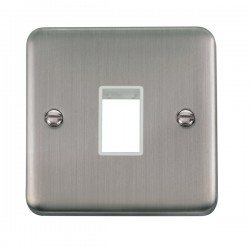 Click Deco Plus Stainless Steel 1 Gang Single Aperture Plate with White Insert
