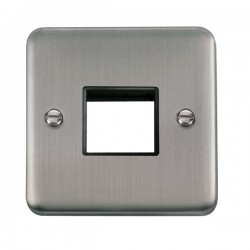 Click Deco Plus Stainless Steel 1 Gang Twin Aperture Plate with Black Insert