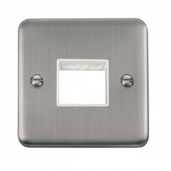 Click Deco Plus Stainless Steel 1 Gang Twin Aperture Plate with White Insert