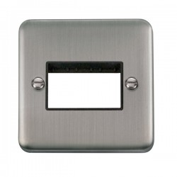 Click Deco Plus Stainless Steel 1 Gang Triple Aperture Plate with Black Insert