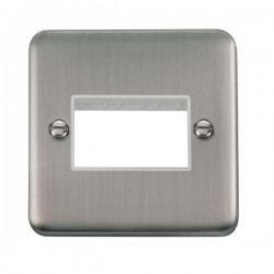 Click Deco Plus Stainless Steel 1 Gang Triple Aperture Plate with White Insert