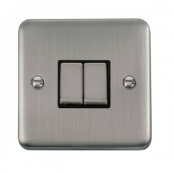 Click Deco Plus Stainless Steel 2 Gang 10AX 2 Way Ingot Switch with Black Insert