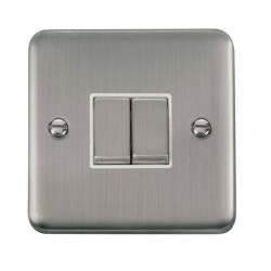 Click Deco Plus Stainless Steel 2 Gang 10AX 2 Way Ingot Switch with White Insert