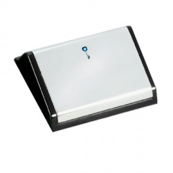 Hamilton EuroFix 50X25mm Modular Card Switched Bright Chrome/Black With Blue LED Locator with Black Insert