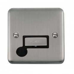 Click Deco Plus Stainless Steel 13A Fused Ingot Connection Unit with Flex Outlet and Black Insert