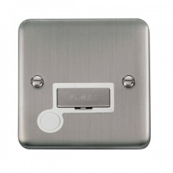 Click Deco Plus Stainless Steel 13A Fused Ingot Connection Unit with Flex Outlet and White Insert