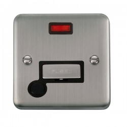 Click Deco Plus Stainless Steel 13A Fused Ingot Connection Unit with Flex Outlet, Neon, and Black Insert