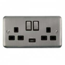 Click Deco Plus Stainless Steel 2 Gang 13A Ingot Switched Socket with USB Outlet and Black Insert