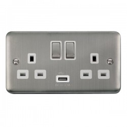 Click Deco Plus Stainless Steel 2 Gang 13A Ingot Switched Socket with USB Outlet and White Insert