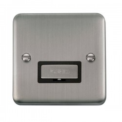 Click Deco Plus Stainless Steel 13A Fused Ingot Connection Unit with Black Insert
