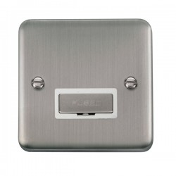 Click Deco Plus Stainless Steel 13A Fused Ingot Connection Unit with White Insert