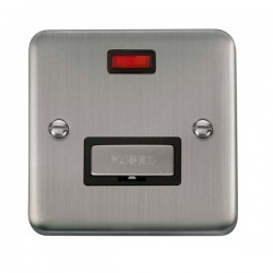 Click Deco Plus Stainless Steel 13A Fused Ingot Connection Unit with Neon and Black Insert