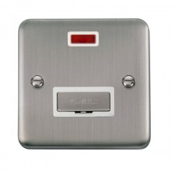 Click Deco Plus Stainless Steel 13A Fused Ingot Connection Unit with Neon and White Insert