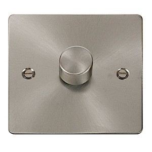 Click Define Brushed Steel Flat Plate Single Dimmer Switch