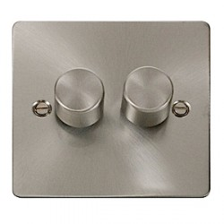 Click Define Brushed Steel Flat Plate Double Dimmer Switch
