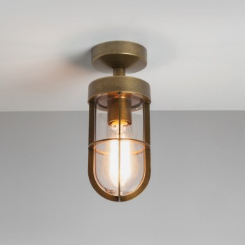 Astro Cabin Semi Flush Antique Brass Outdoor Ceiling Light with Clear Glass