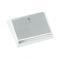 Hamilton EuroFix 50X50mm Modular Card Switched Satin Chrome/White With Blue LED Locator with White Insert