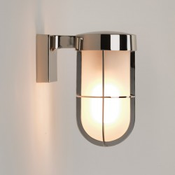 Astro Cabin Polished Nickel Outdoor Wall Light with Frosted Glass