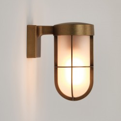 Astro Cabin Antique Brass Outdoor Wall Light with Frosted Glass