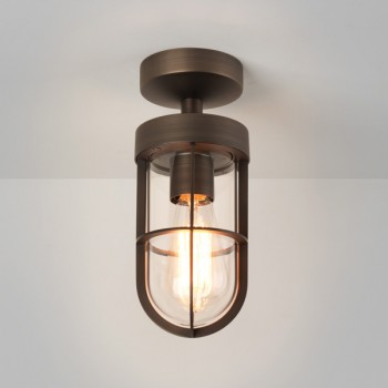 Astro Cabin Semi Flush Bronze Plated Outdoor Ceiling Light with Clear Glass