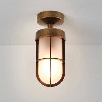 Astro Cabin Semi Flush Antique Brass Outdoor Ceiling Light with Frosted Glass