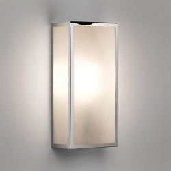 Astro Messina Polished Nickel Outdoor Wall Light with Frosted Glass