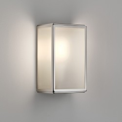 Astro Homefield Polished Nickel Outdoor Wall light with Frosted Glass and Sensor