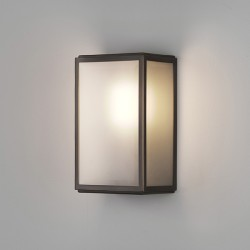 Astro Homefield Bronze Outdoor Wall Light with Frosted Glass and Sensor