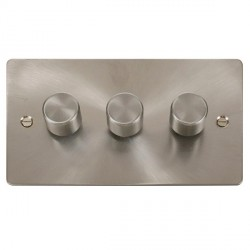 Click Define Brushed Steel Flat Plate Triple Dimmer Switch